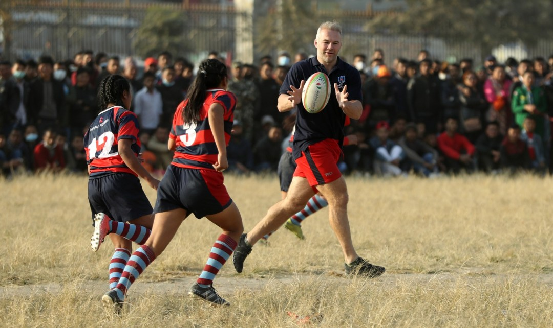 Former England Sevens captain Ollie Phillips was ambassador for the Rugby World Cup Trophy Tour in Nepal, December 2019
