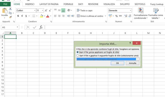 importare sitemap in excel