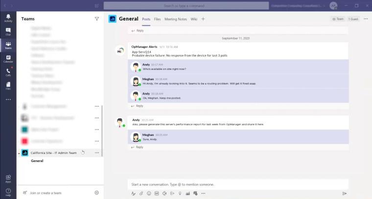 Microsoft Teams - OpManager UI