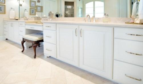 Kabinart Cabinets. Lancaster door style, painted Starlite.