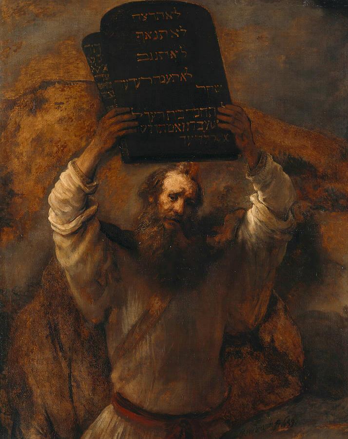 Moisés e as tábuas da lei com os Dez Mandamentos