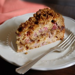 Rhubarb Coffee Cake With Crystallized Ginger Streusel Topping