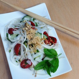 Thai Rice Noodle Salad With Cilantro, Mint and Peanuts