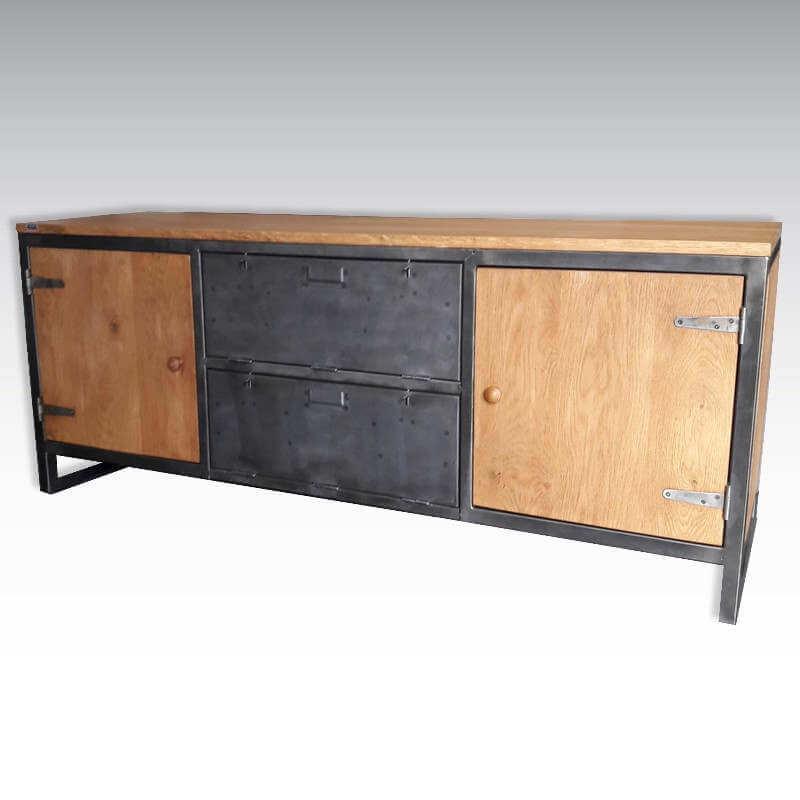 meuble 2 clapets acier et bois