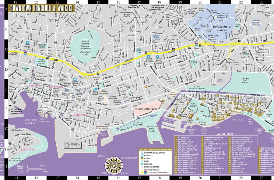Large Honolulu Maps for Free Download and Print   High Resolution     Detailed map of Honolulu 2