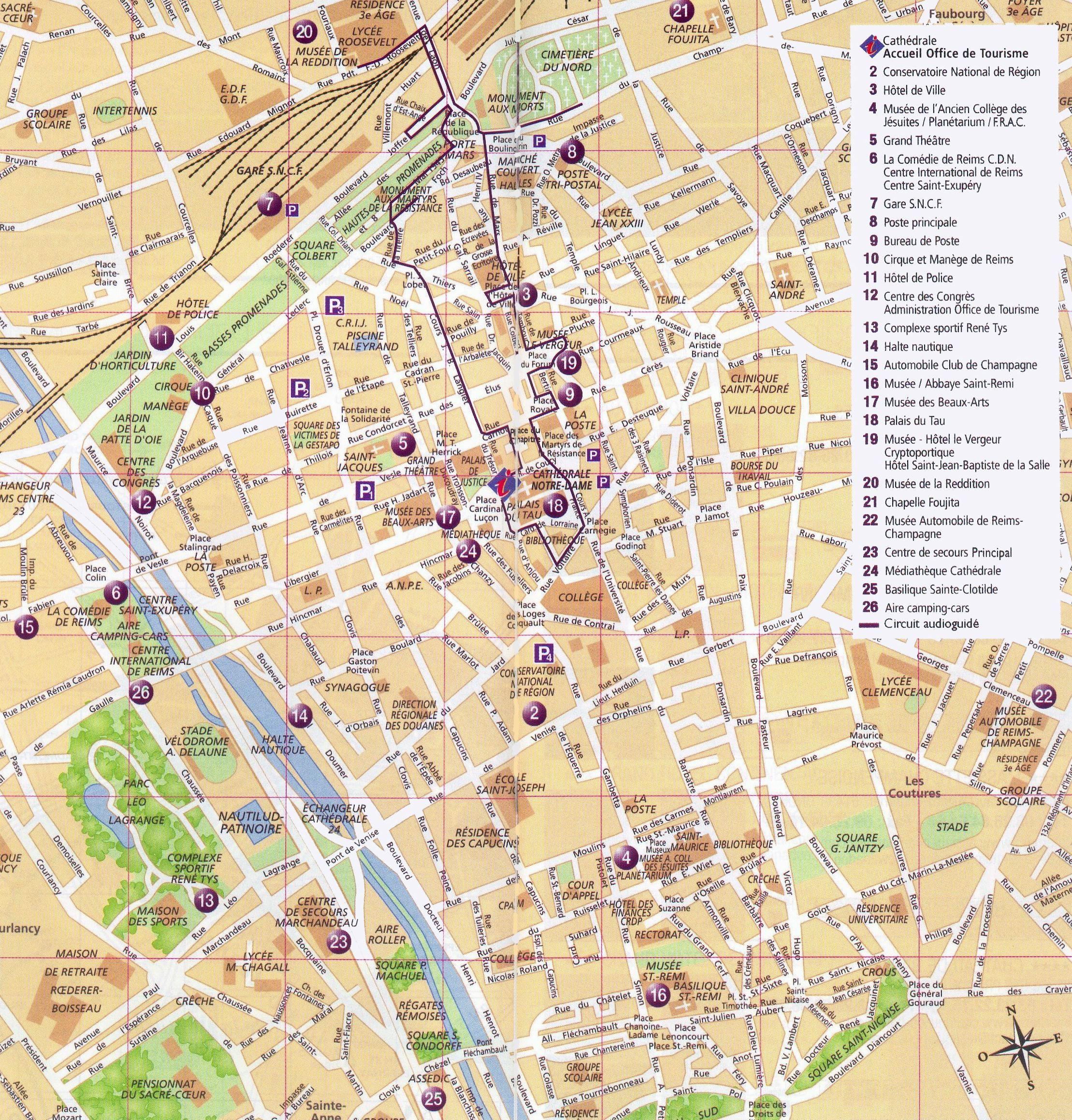 detaillierte gedruckte karten von reims