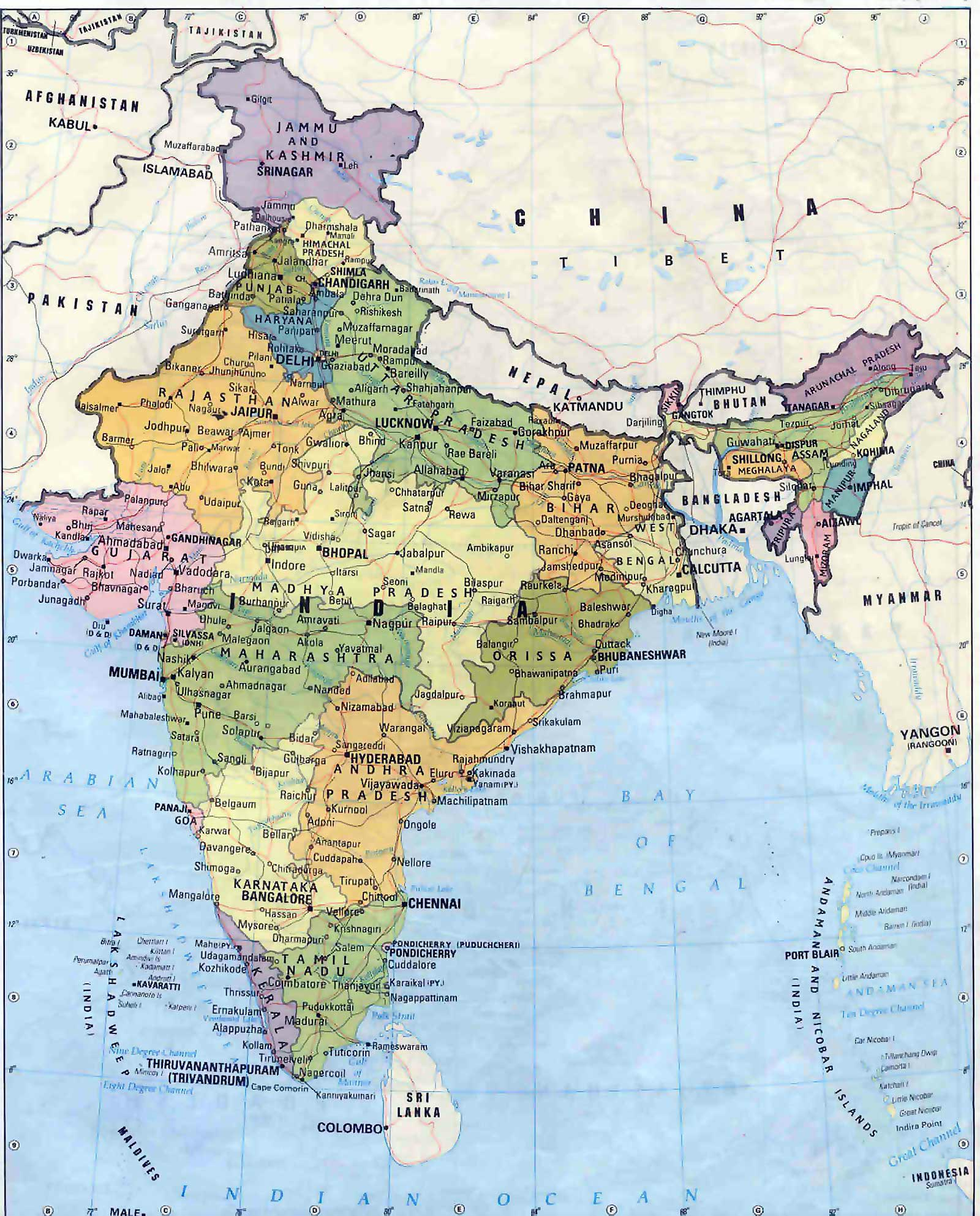 Large Map Of India