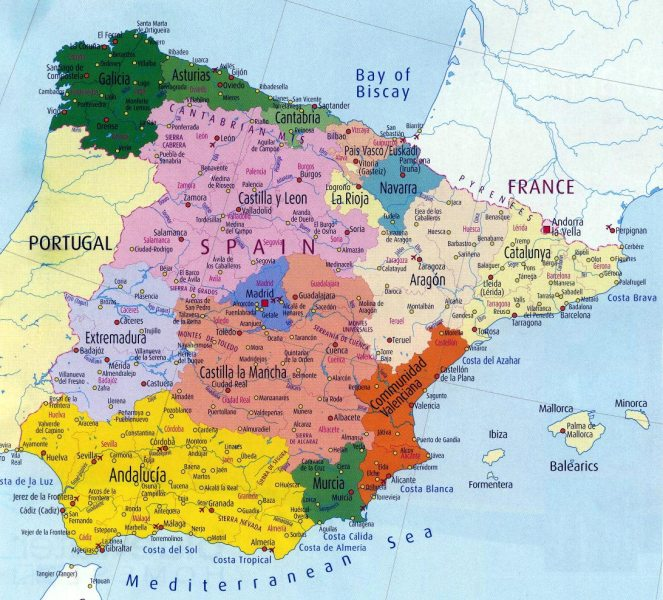 Spain Maps   Printable Maps of Spain for Download Large map of Spain