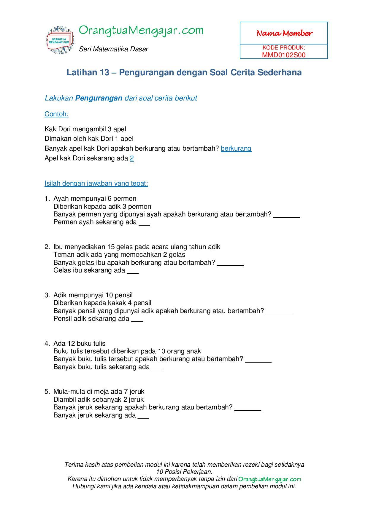 Free Download Soal Kelas 1 Sd
