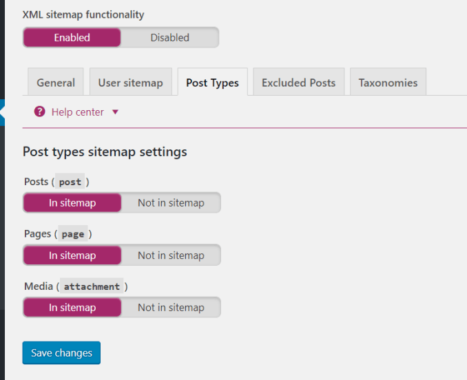 setting yoast seo xml sitemap