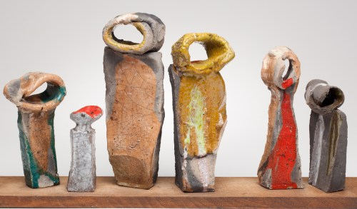 "The Betty Feves retrospective at MoCC restored a beloved Oregon artist to the city. Betty Feves, ""Six Figures,"" date unknown. Raku on wooden base. Collection of Feves Family. Photo: Dan Kvitka"