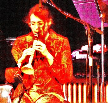 "Lisa Lipton performs a vegetable improvisation on ""carronet"" at CPOP's March 2012 concert"