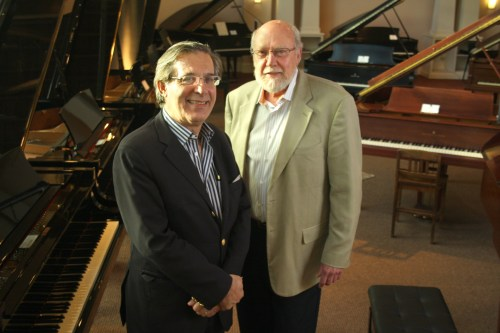 Portland Piano International founder Harold Gray, right, and new artistic director Arnaldo Cohen.