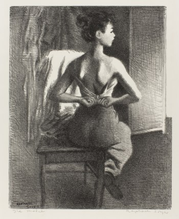 "Raphael Soyer, ""Young Model,"" 1940, lithograph, unnumbered edition of 250. The Vivian and Gordon Gilkey Graphic Arts Collection."