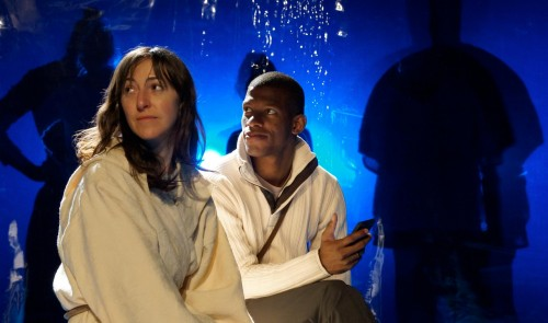 "Julie Hammond and Damian Thompson in ""The Left Hand of Darkness""/Portland Playhouse and Hand2Mouth Theatre"