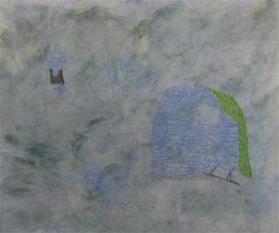 """""""Malt Kiln,"""" acrylic, gouache, mixed media on paper, 2012"""