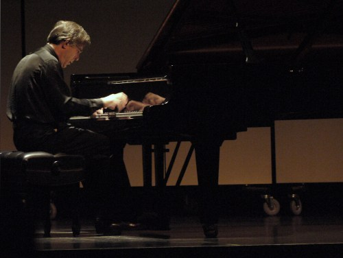 Arnaldo Cohen, Portland Piano International's artistic director, in recital at Portland's Newmark Theater. Photo by Jim Leisy.