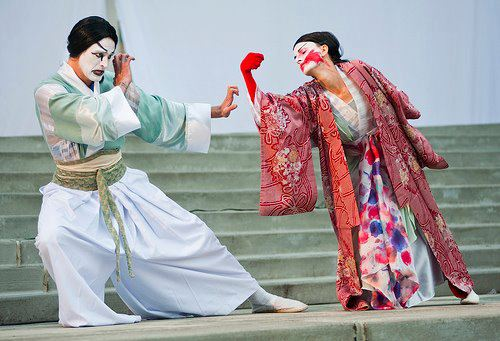 "Ty Boice and Mueller in ""Kabuki Titus,"" 2012. Photo: Bag&Baggage"