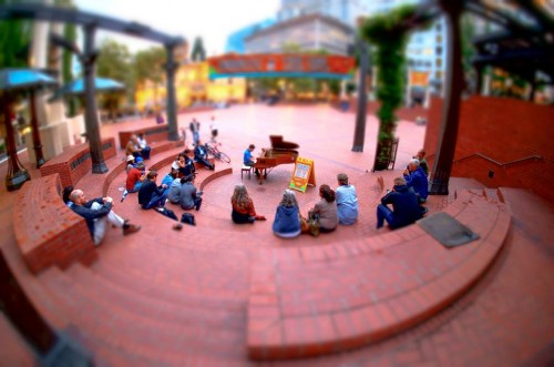 PianoPushPlay! put a piano in Portland's Pioneer Courthouse Square.