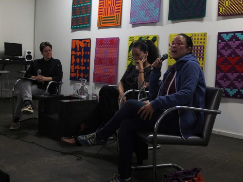 Emily Roysdon in conversation with Bouchra Ouizguen and Nacera Belaza/Photo by Gordon Wilson courtesy of PICA