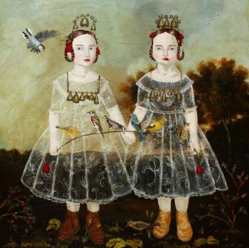 "Anne Siems, ""Bells and Birds,"" 2013, acrylic on wood panel, 30 x 30 inches. Laura Russo Gallery"