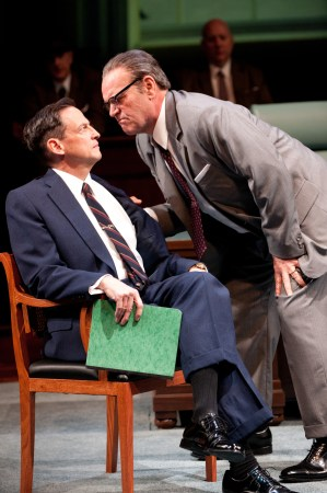 """Lyndon Johnson (Jack Willis) makes his point with Hubert Humphrey (Peter Frechette)  in OSF's """"All the Way""""?Photo Jenny Graham"""