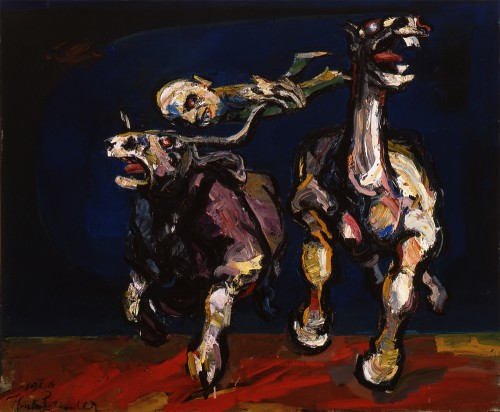 """Like the cowboy in Henk Pander's """"Rodeo,"""" we are on the edge today./Portland Art Museum/© 1966 Henk Pander"""