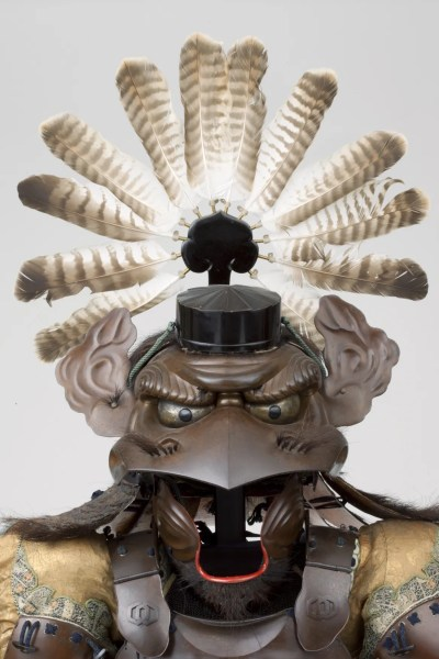 Helmet with the features of a tengu (crow-demon) 1854 Iron, lacquer, leather, feathers Photograph by Brad Flowers © The Ann and Gabriel Barbier-Mueller Museum, Dallas