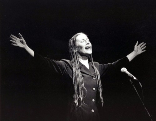 Meredith Monk sings at Reed College Monday.