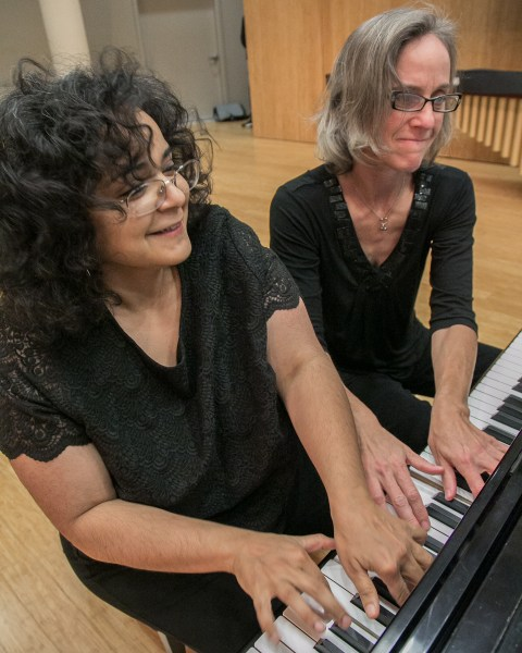 Composer Gabriela Lena Frank and Third Angle pianist Susan Smith