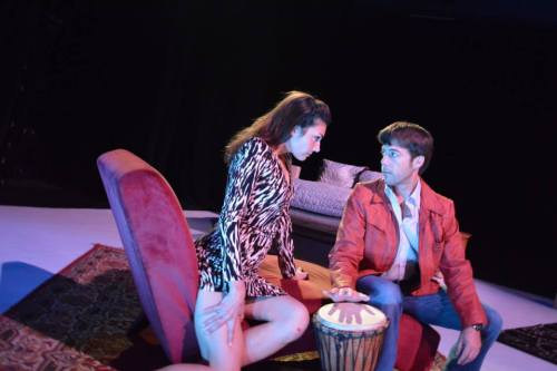 """Anne Sorce and Jeffrey Jay Gilson play the bongo and each other in """"The Lover""""/Imago Theatre"""