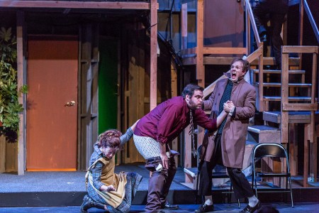 "Isaac Lamb and Karen Trumbo stoop for laughs in ""Noises Off""/Owen Carey"