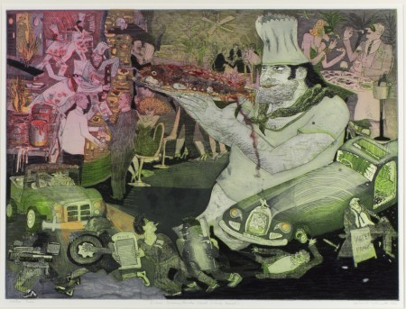 """Suite Louisiana: Down Tchoupitoulas Street (Chef Emeril),"" Warrington Colescott, 1996, etching, Portland Art Museum. Gift of the artist."