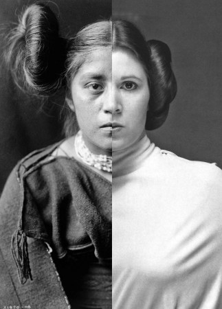 "Nicholas Galanin's ""Things are Looking Native, Native's Look Whiter,"" combines an Edward S. Curtis image and a photo of Princess Leia."