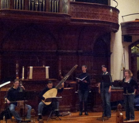 Members of The Ensemble and Musica Maestrale rehearse their Celebration Works concert in Portland.