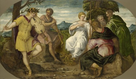 "Jacopo Comin, called Tintoretto, ""The Contest Between Apollo and Marsyas,"" c. 1545, oil on canvas, 55 x 94.5 inches, Wadsworth Atheneum Museum of Art/Art Resource, NY"