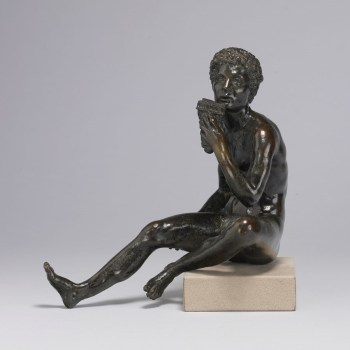"""Andrea Briosco, called Riccio, """"Seated Shepherd, with Syrinx (Daphnis?),"""" c. 1520, bronze, 8.4 inches tall, The Walters Art Museum, Baltimore"""