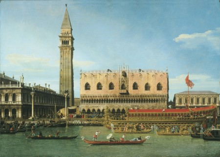 "Giovanni Antonio Canal, called Canaletto, ""The Bucintoro at the Molo on Ascension Day,"" c. 1745, oil on canvas, 45.25 x 64 inches, Philadelphia Museum of Art, The William L. Elkins Collection/Art Resource, NY"