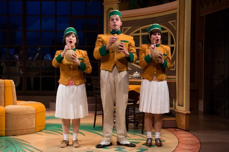 Trixie (Katie Bradley), Nate (Miles Fletcher) and Coco (Erin O'Connor) welcome guests to The Cocoanut Hotel. Photo: Jenny Graham.