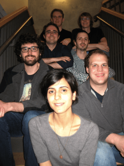 Oregon Composers Forum members Alex Bean, Matt Zavortink, Andrew Stiefel, David Eisenband, John Goforth, David Sackmann, and Nayla Mehdi. Photo: Robert Kyr.