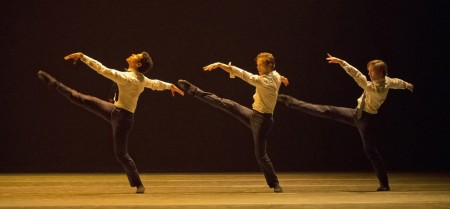 "Jordan Kindell, Avery Reiners, and Michael Linsmeier (l-r) in Matjash Mrozewski's ""The Lost Dance."" Photo: Blaine Truitt Covert"