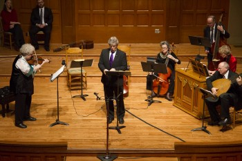Monica Huggett (l), Harry van der Kamp (c) and Stephen Stubbs (far right) starred in Portland Baroque Orchestra's concerts.