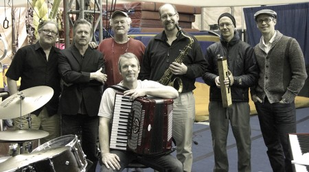 Charlie Dennard (with squeezebox) and band perform at Portland's Secret Society Monday night.