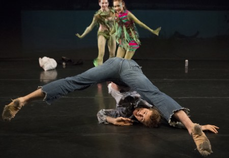 """Avery Reiners with Ansa Deguchi and Katherine Menogue in Michael Linsmeier's """"Found You."""" Photo: Blaine Truitt Covert"""