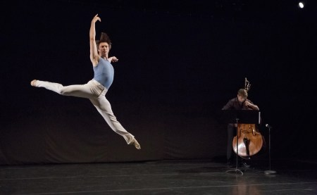 "Brett Bauer with bassist Will Gibbs in Candace Bouchard's ""What Was Asked of Them."" Photo: Blaine Truitt Covert"