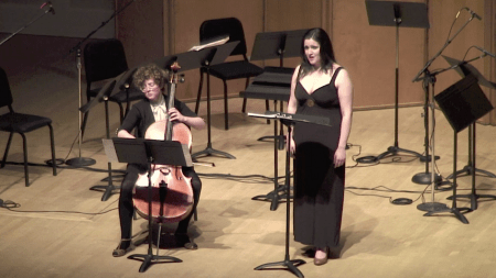 Nebraska, Early March (2013) by David Eisenband. Performed by Esteli Gomez (soprano) and Kelly Quesada (cello). Photo: Eugene Contemporary Chamber Ensemble.
