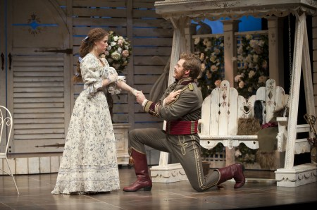 """Shaw at the Shaw: Kate Besworth (Raina Petkoff) and Martin Happer (Major Sergius Saranoff) in """"Arms and theMan."""" Photo: Emily Cooper"""