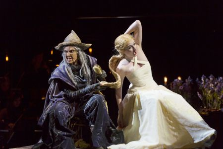 """In OSF's """"Into the Woods"""" Miriam A. Laube tugs  on Royer Bockus's golden hair/Photo  T. Charles Erickson"""