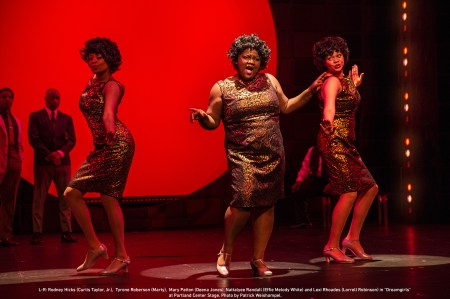 L-R: Rodney Hicks (Curtis Taylor, Jr.), Tyrone Roberson (Marty), Mary Patton (Deena Jones), Nattalyee Randall (Effie Melody White) and Lexi Rhoades (Lorrell Robinson). Photo: Patrick Weishampel.