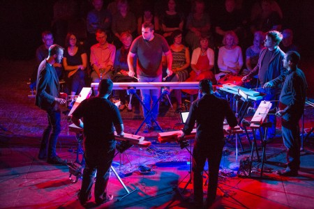 Members of Third Angle New Music and Mantra Percussion played the planks in Michael Gordon's Timber. Photo: Tom Emerson Photography.